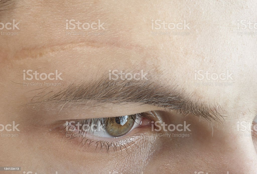 scar on forehead stock photo