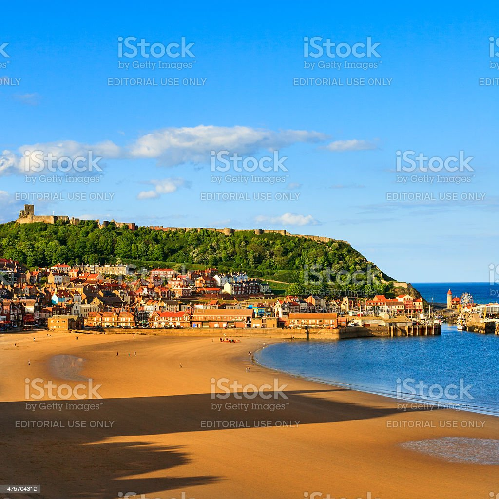 Scarborough beach, castle and harbour stock photo