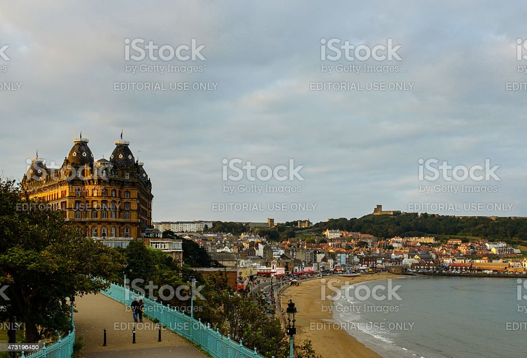 Scarborough beach, harbour, seafront and The Grand Hotel stock photo