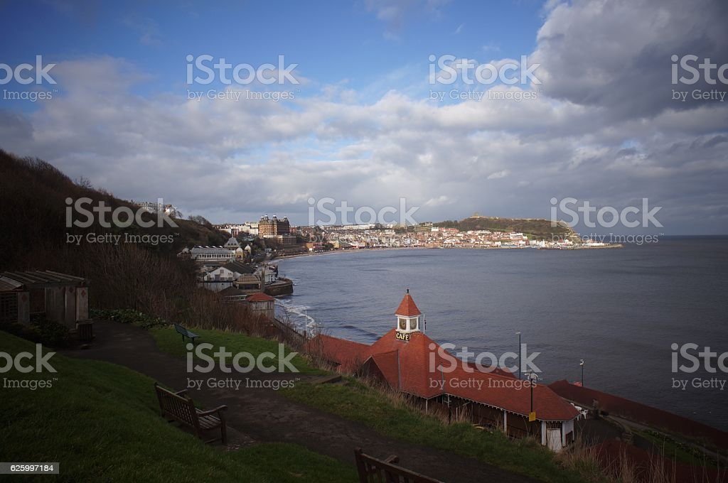 Scarborough Cityscape view from hill stock photo