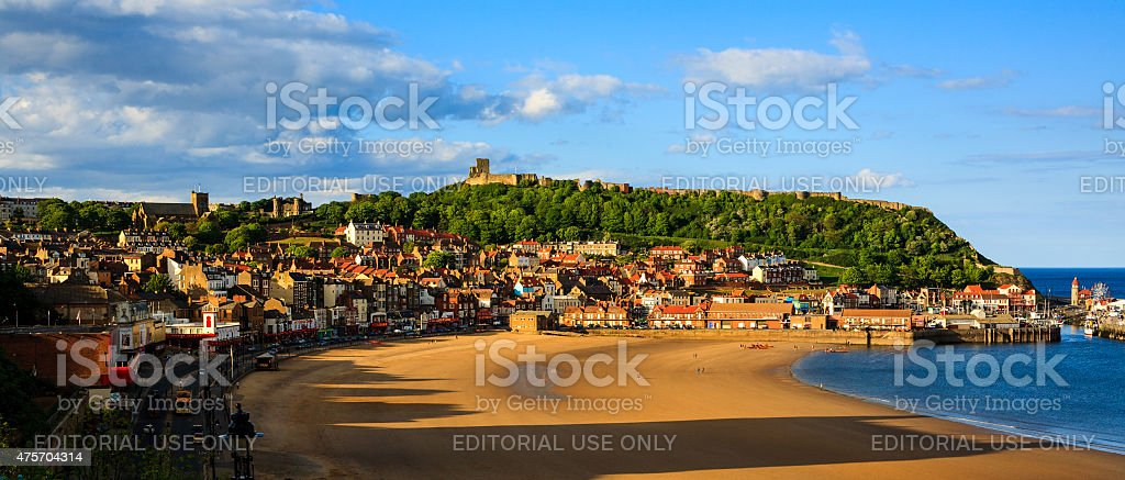 Scarborough town, beach and castle panoramic stock photo