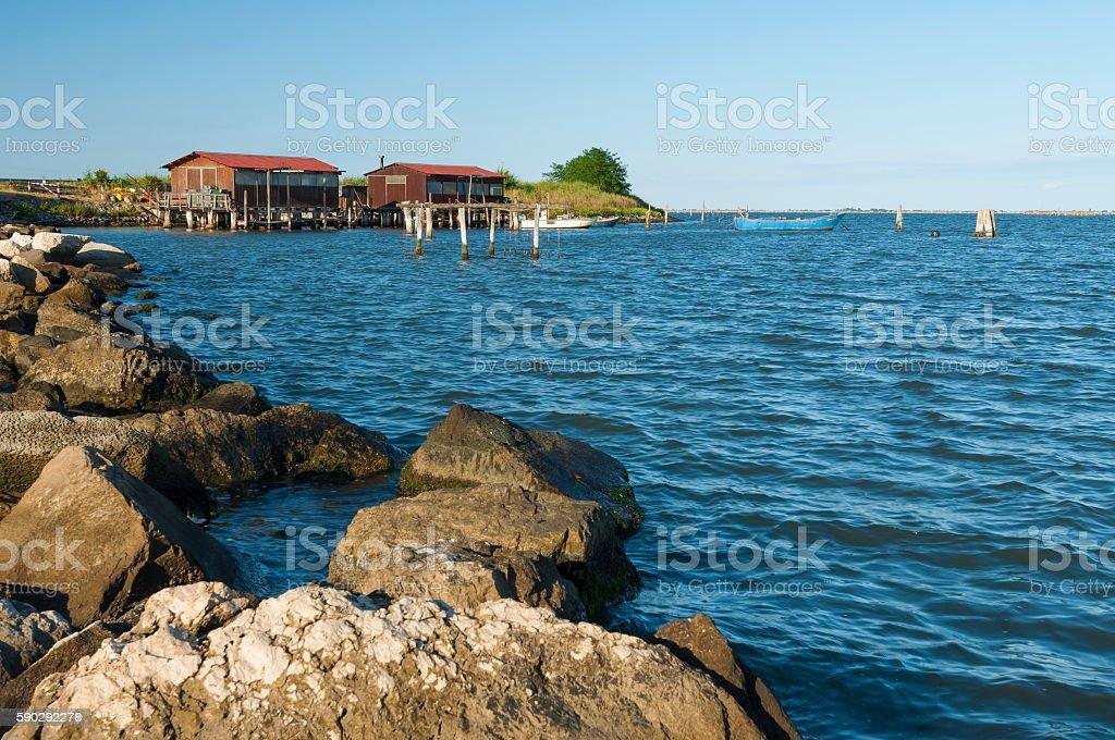 Scardovari lagoon, Po river estuary, Rovigo, Italy royaltyfri bildbanksbilder