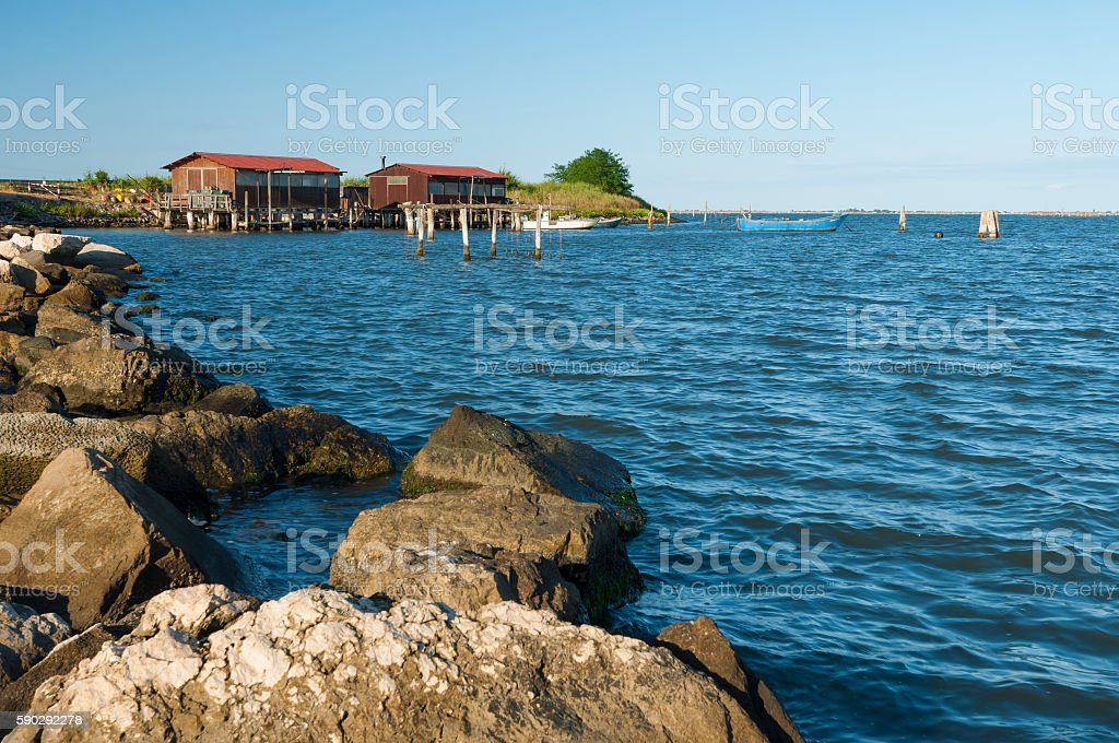 Scardovari lagoon, Po river estuary, Rovigo, Italy Стоковые фото Стоковая фотография