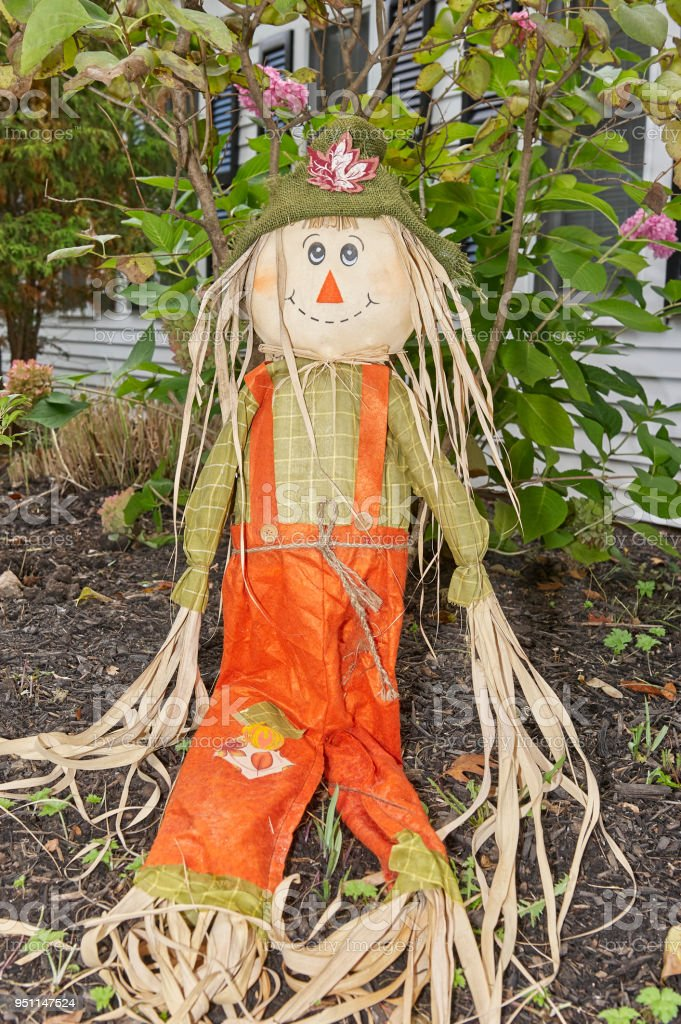 scarecrows at halloween festival stock photo