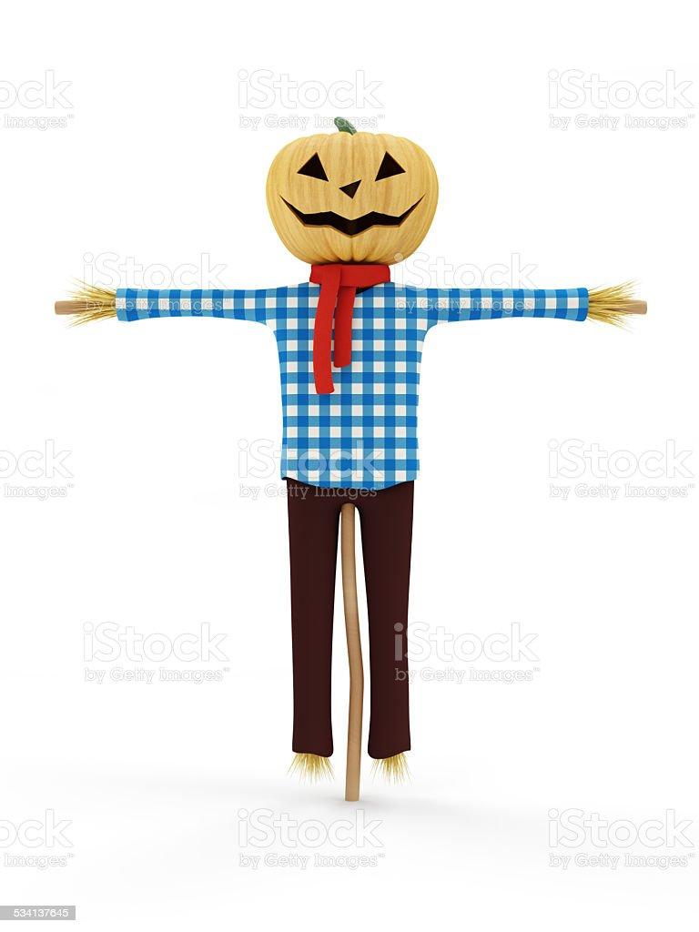 Scarecrows isolated on white background stock photo