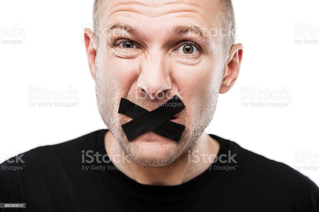 Angst vor Erwachsenen Mannes Klebeband geschlossen Mund – Foto