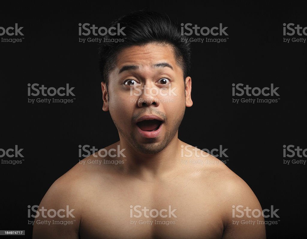 Scared asian man stock photo