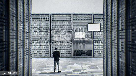 802303672 istock photo Scared businessman in server room 1074631764