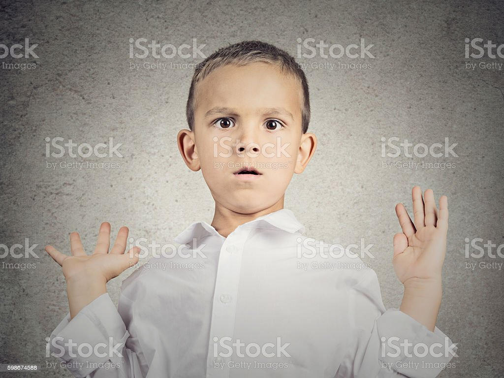 Scared child boy stock photo