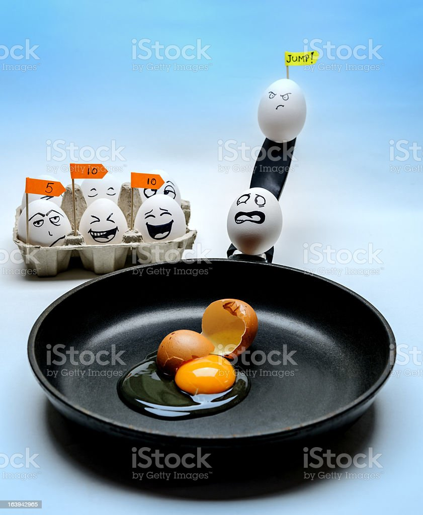 scared egg stock photo