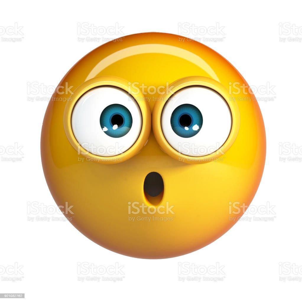 Scared emoji, shocked emoticon. stock photo