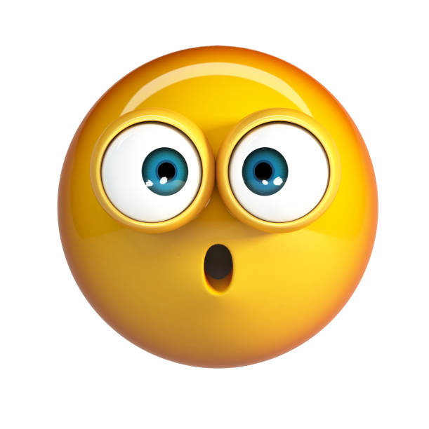 scared emoji, shocked emoticon. - excited emoji stock photos and pictures