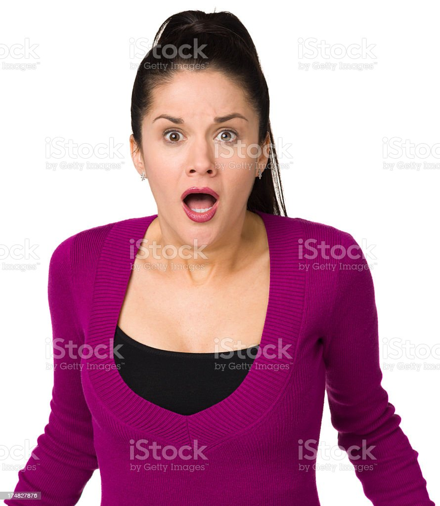 Scared Gasping Woman royalty-free stock photo
