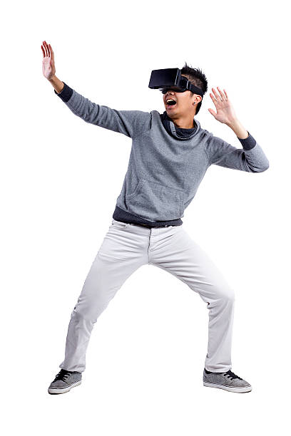 Scared in Immersive Virtual Reality stock photo