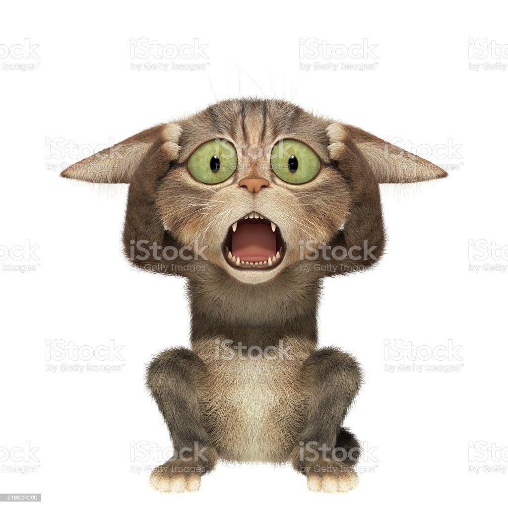 Scared kitten holding his head stock photo