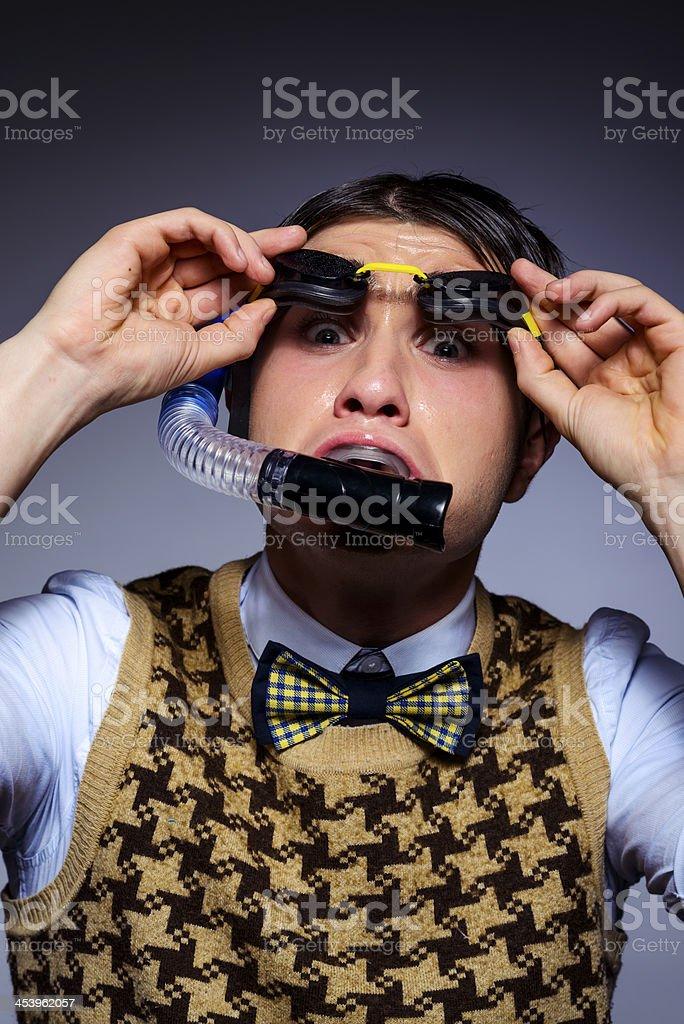 scared nerd stock photo