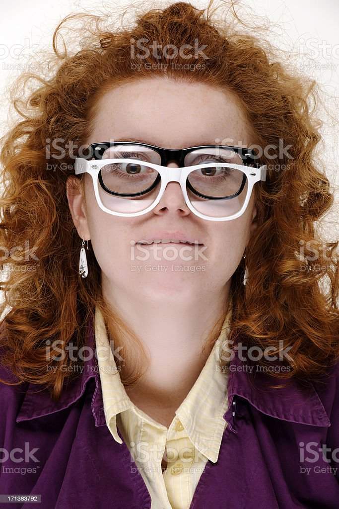 scared nerd woman royalty-free stock photo
