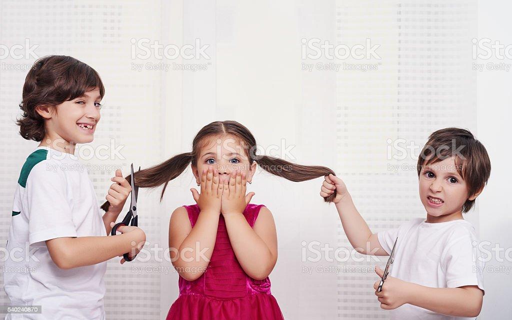 Paura di tagliare i capelli - foto stock