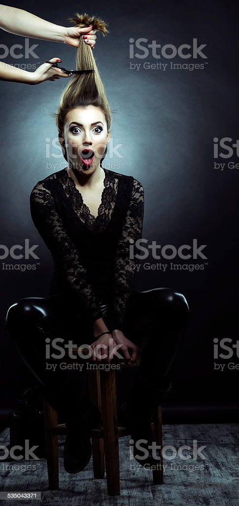 scared of scissor stock photo