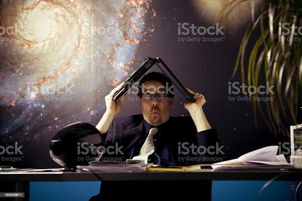 Scared office worker royalty-free stock photo
