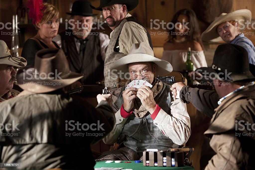 Scared Old Cowboy Caught Cheating Stock Photo & More