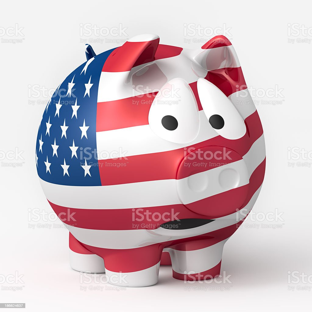 Scared US American Piggy Bank royalty-free stock photo