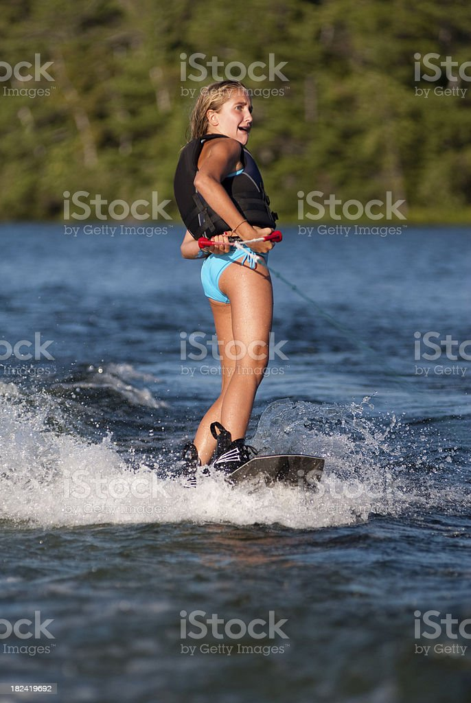 Scared Wakeboarding Girl royalty-free stock photo