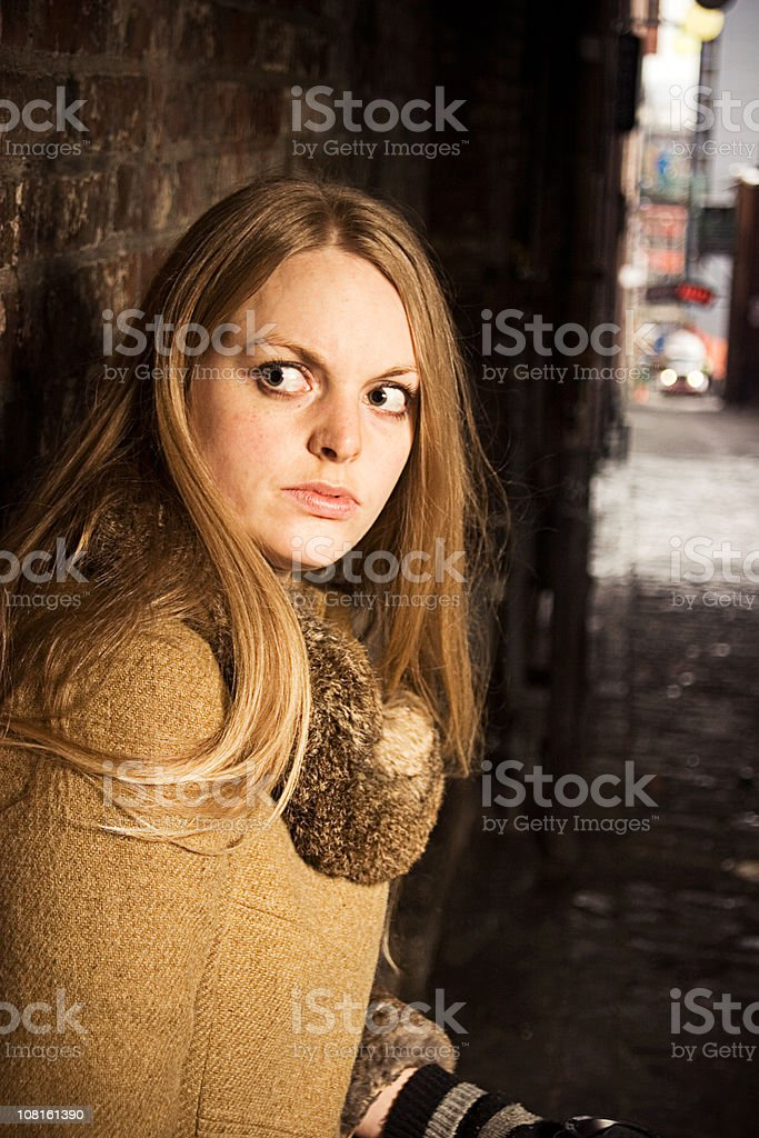 Scared Young Woman stock photo