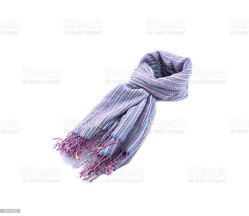 Scarf hand-made isolate on white background stock photo