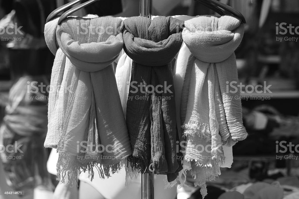 Scarf in a market stall royalty-free stock photo