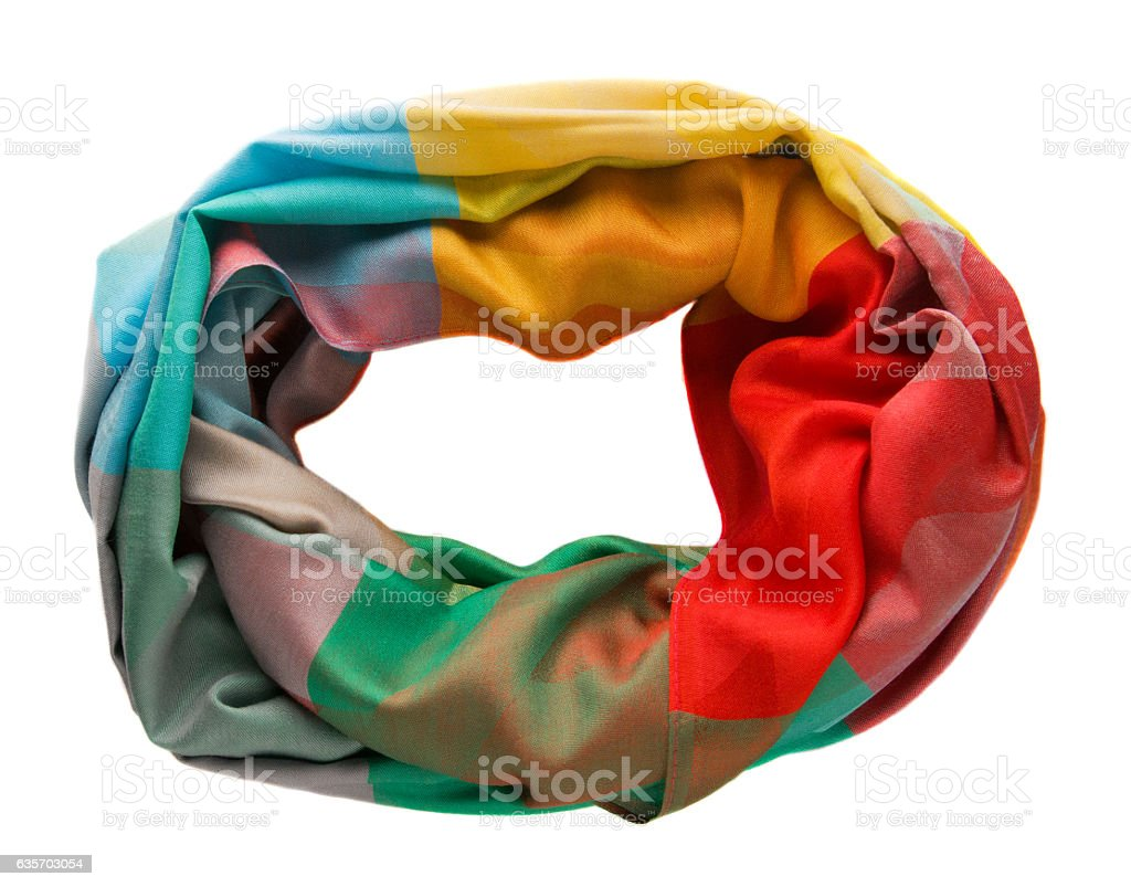 Scarf isolated on white background.Scarf  top view .variegated royalty-free stock photo
