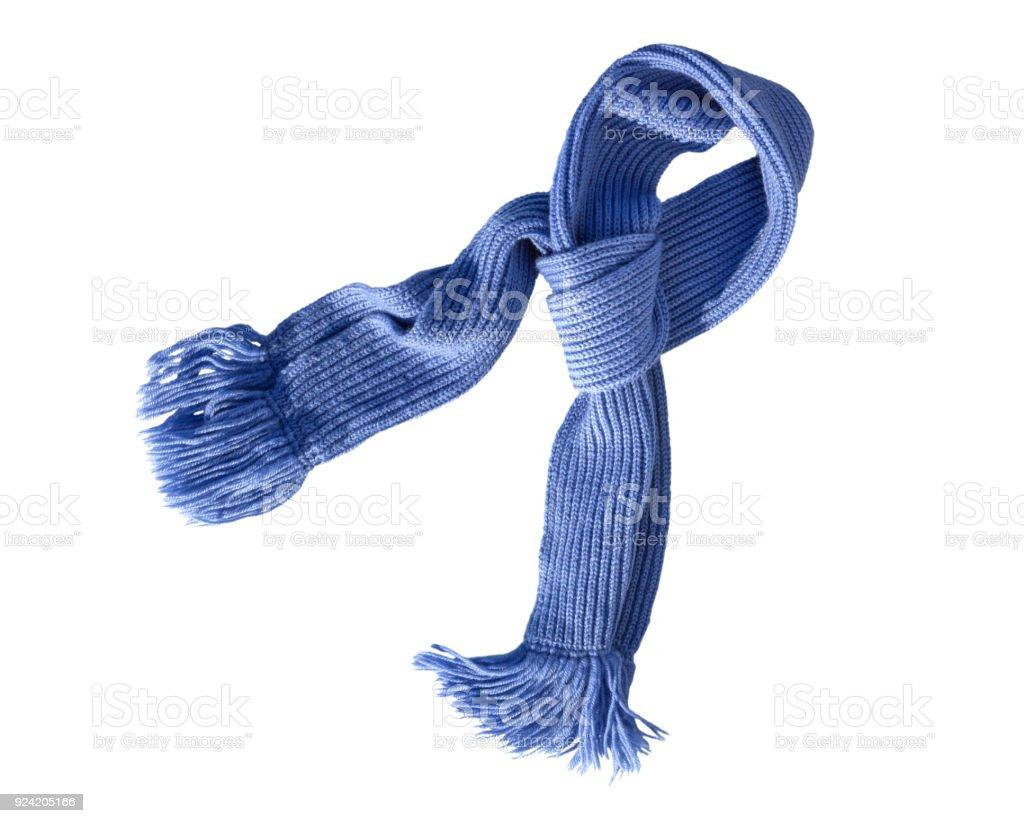 Bufanda punto trabajo hecho a mano con flecos en blanco. Bufanda de lana de colores. - foto de stock