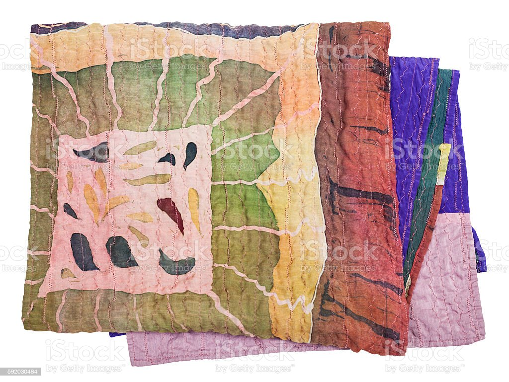 scarf stitched from clenched painted silk batik stock photo
