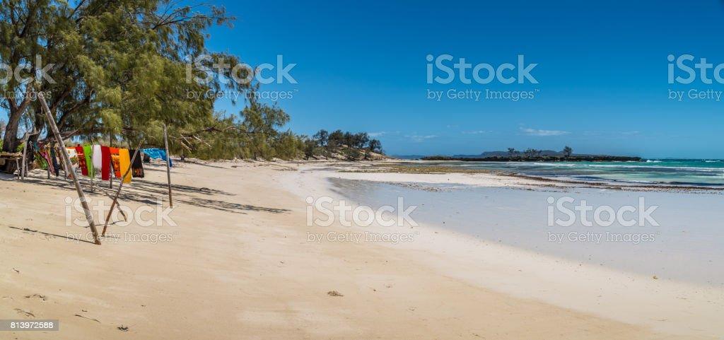 Scarfs drying on a beach stock photo