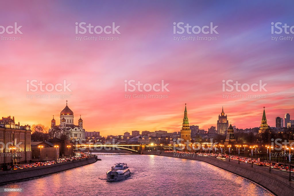 Scarlet glow over Moscow stock photo