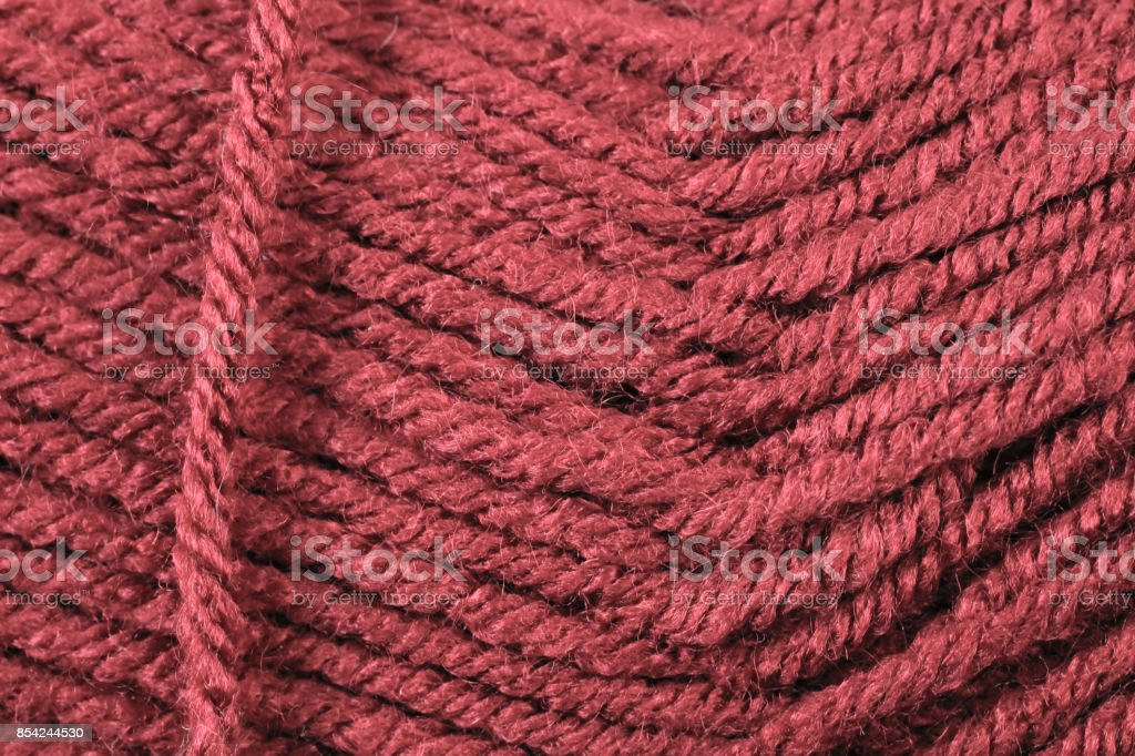 Scarlet Yarn Texture Close Up stock photo