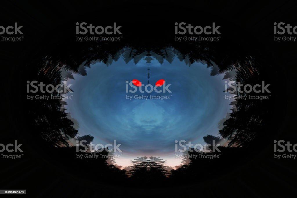 Beängstigend Hintergrund Mit Ghost Mit Roten Augen In Dunklen Tönen