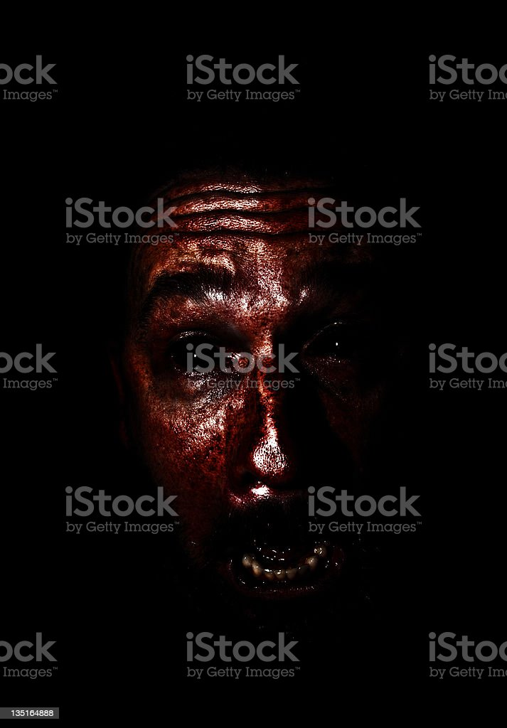 Scary Bloody Face stock photo