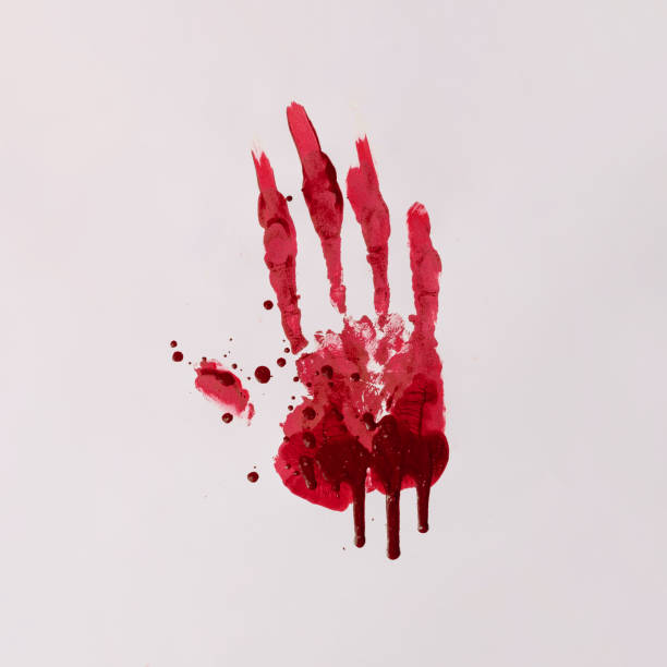 Scary bloody hand print. Halloween horror concept. blood stock pictures, royalty-free photos & images