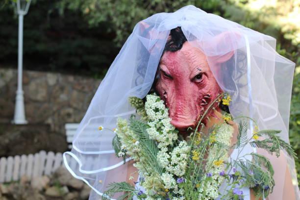 gruselige kreatur bereit zu heiraten - pig ugly stock-fotos und bilder