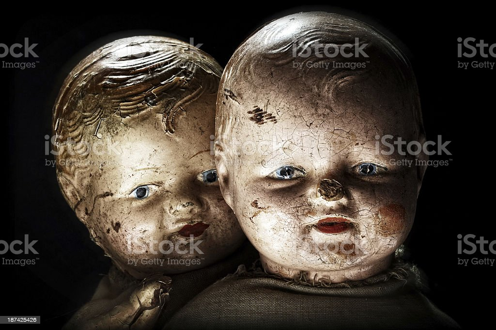 Scary, Creepy Antique Dolls stock photo