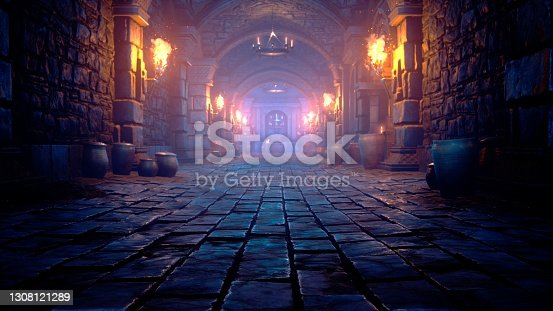 istock Scary endless medieval catacombs with torches. Mystical nightmare concept. 3D Rendering. 1308121289