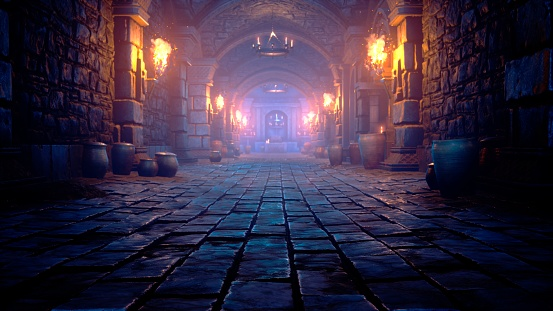 Scary endless medieval catacombs with torches. Mystical nightmare concept. View of the ancient catacomb.