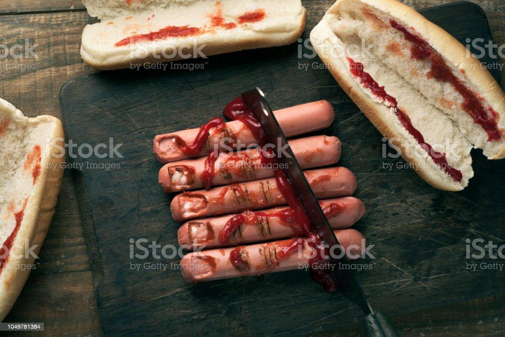 beängstigend fingerförmige hotdogs – Foto