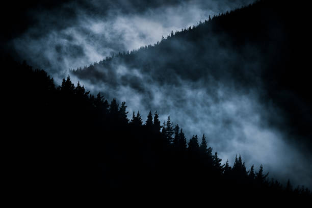 scary foggy mountain at nigh - foto de stock