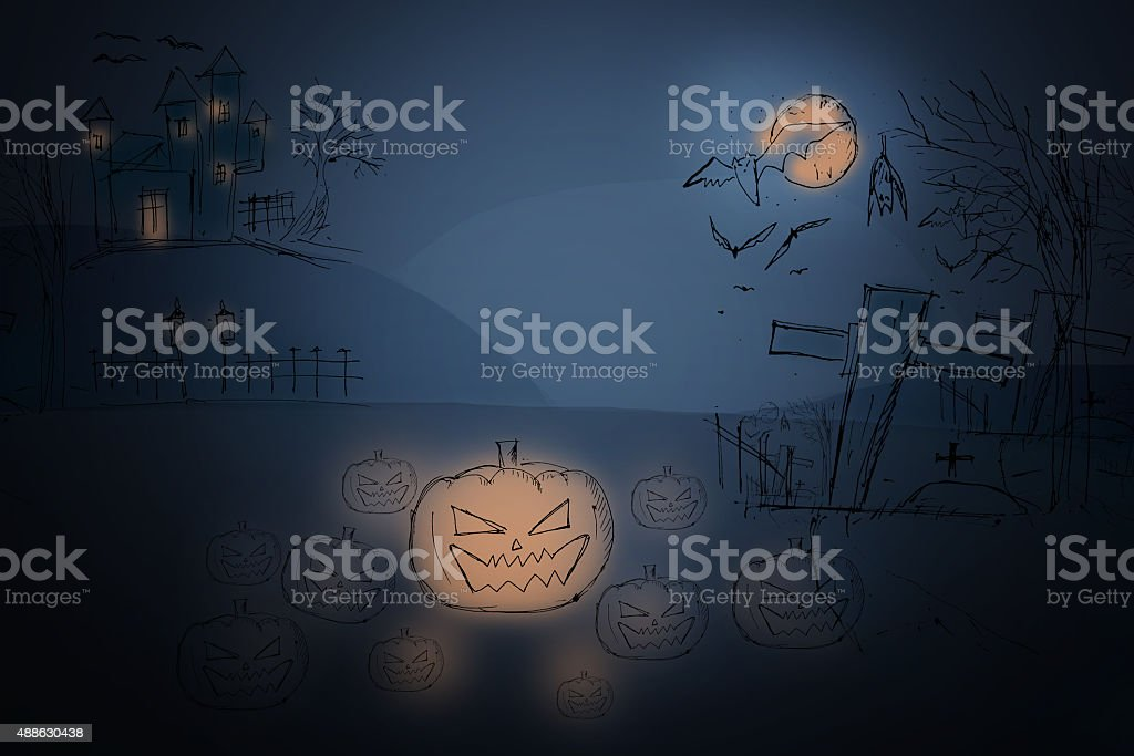 Страшно graveyard and Фермерский дом в лесу-Хэллоуин backgroun стоковое фото