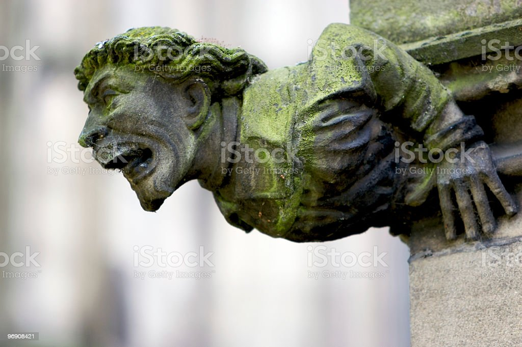 Scary Green Gargoyle royalty-free stock photo