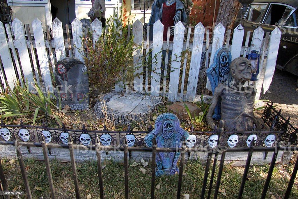 Scary Halloween graveyard stock photo