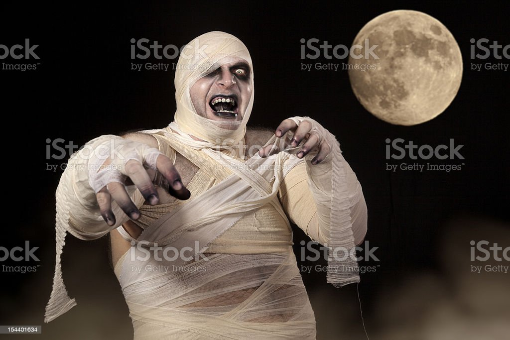 Scary Halloween Mummy in the mist royalty-free stock photo