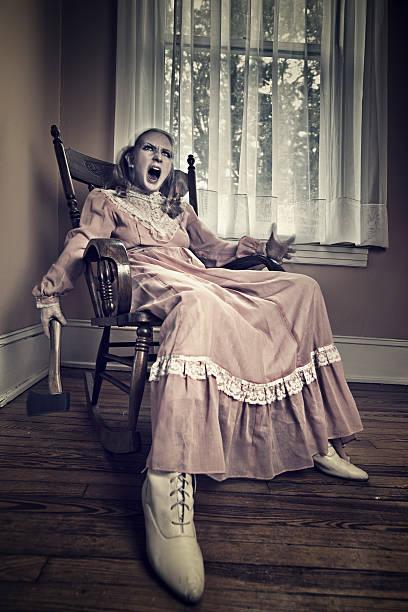 Scary haunted girl stock photo